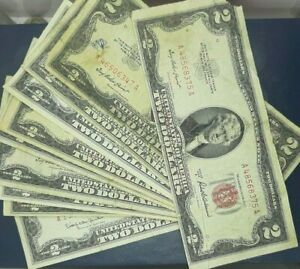 2-RED-SEAL-NOTES-WELL-CIRCULATED-ASSORTED-DATES-10-NOTES-EACH-LOT