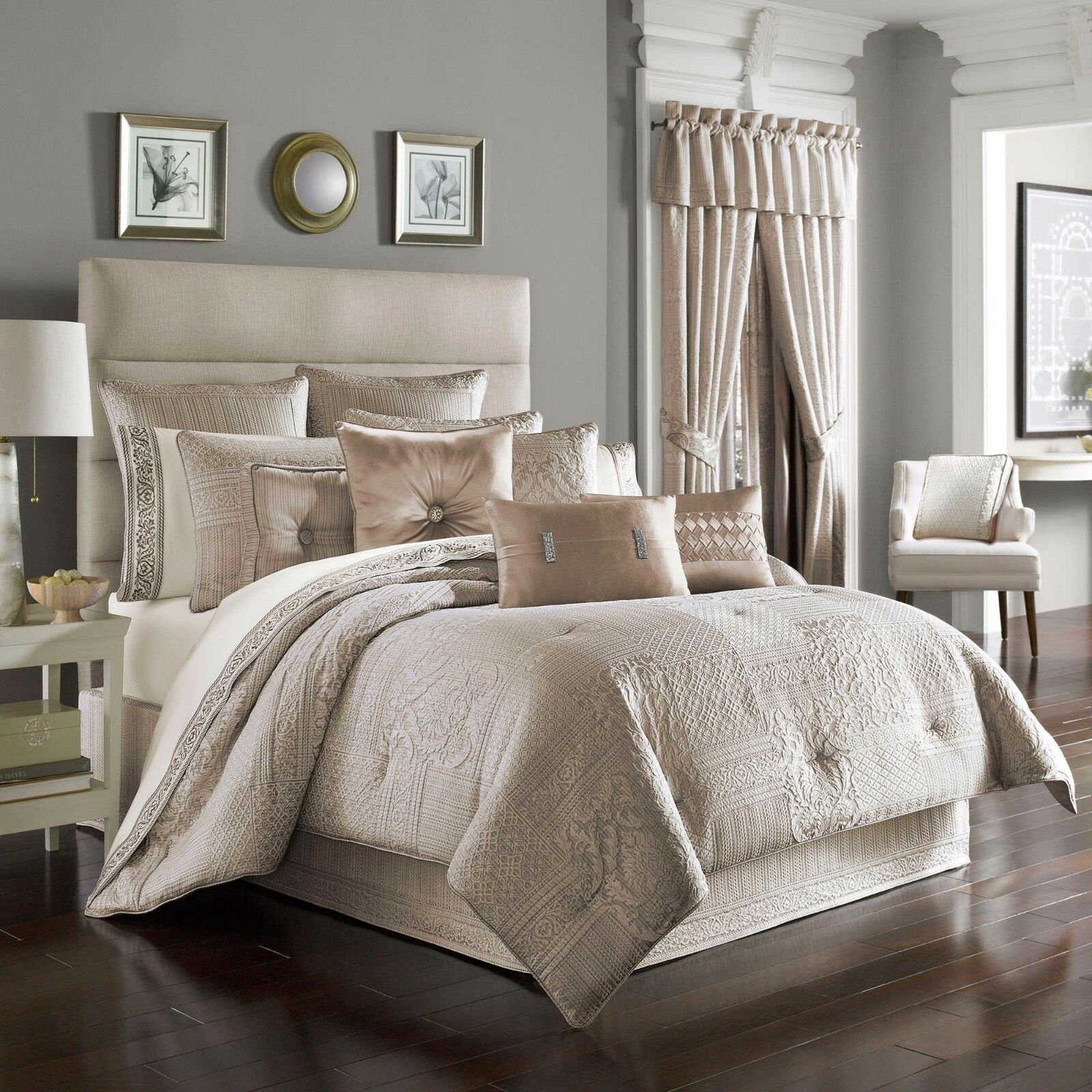 New J. Queen New York Wilmington Alabaster 4 Piece Queen Comforter Set