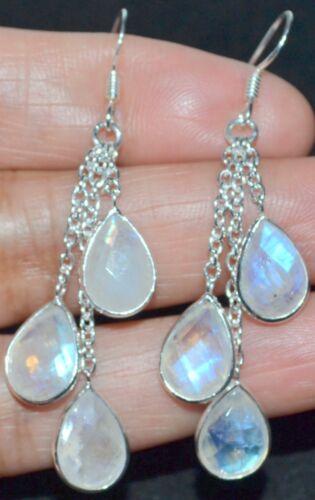 Natural Rainbow Moonstone Earrings Long drop Multi Gemstone Sterling SILVER