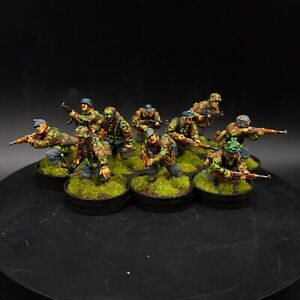 Ben dipinti 28mm BOLT ACTION Waffen SS Squad × 10 Ww2 WARLORD GAMES