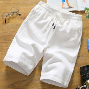Mens Cotton linen Shorts Summer Casual Jeans Cargo Combat Half Pants Beach Short
