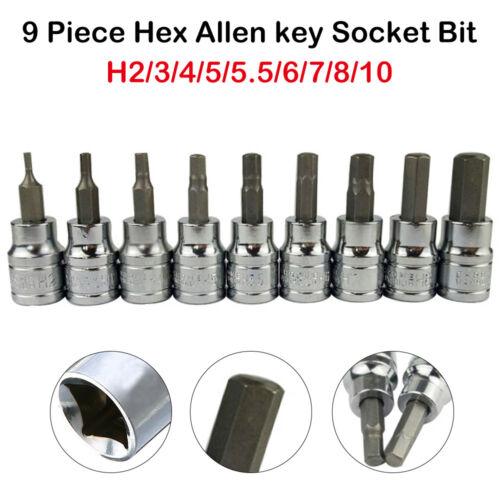 9x 3/8 Drive Torx Hex Allen Key Bit Socket Set Wrench Head 2 3 4 5 5.5 6 8 10mm