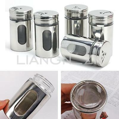 Stainless Spice Salt Pepper Herbs Toothpick Storage Shaker Jar Sugar Bottle New