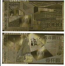 24 KARAT GOLD MACAO 1000 PATACAS -NEW- BILL COMES IN ACRYLIC SLAB GIFT HOLDER