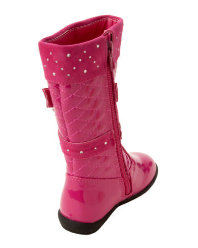 GIRLS FUSCHIA PINK PATENT QUILTED DIAMANTE KNEE HIGH ZIP WINTER BOOTS SIZE 5-12