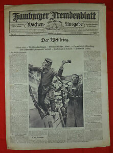 """Hamburger étranger Feuille (21.1.1917): Le Navire De Guerre """"cornwallis"""" Coulé-afficher Le Titre D'origine"""