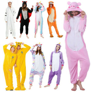 Ladies Onesie66 Kigurumi Unisex Adults Warm Hoodie Nightie Unicorn Sleep Clothes