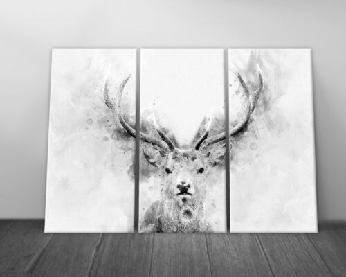 Abstract Watercolour Stag Deer Head Canvas Print Framed Wall Art Picture B/&W