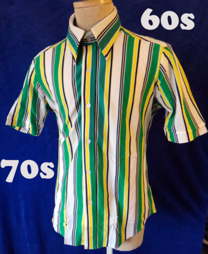 70s 60s NEW Vintage polyester green stripe wide co