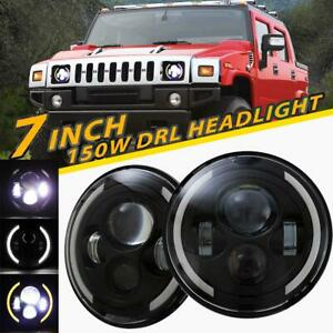 2x-7Inch-150W-LED-Headlight-High-Low-DRL-Beam-Angel-Eyes-For-Hummer-H1-H2-H3-SUV