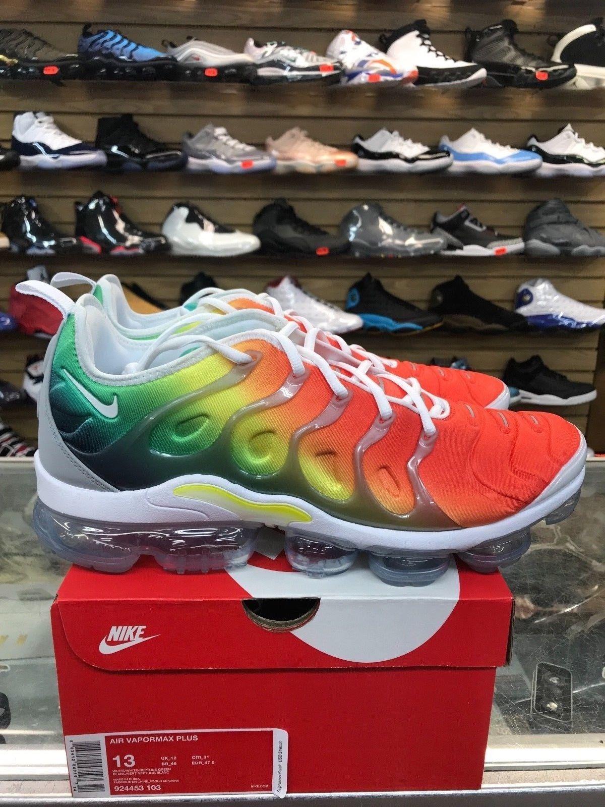 Nike air vapormax piu 'arcobaleno uomini bianchi / nettuno green924453-103 autentico