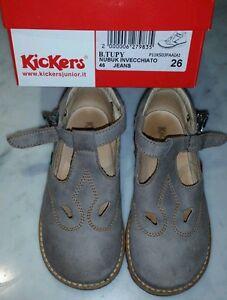Scarpe-kickers-bambino-misura-26-aperte-nubuk-invecchiato-jeans