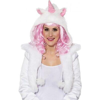 Mütze Einhorn weiß  rosa Plüsch für Kostüm Einhorn Märchen Fasching