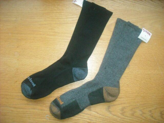 Mens NWT TIMBERLAND Crew Socks 2prs 1 Black/1 Charcoal Gray Sz:L (9-12.5) SOFT
