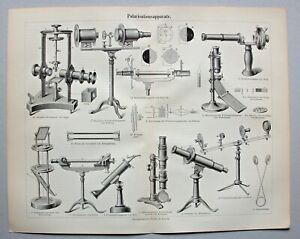 Optik, Polarisation - Stich, Holzstich mit diversen Abbildungen von 1898