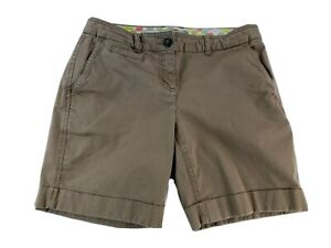 Boden Womens Size 6P Petite Stretch Bermuda Shorts Brown Cuffed