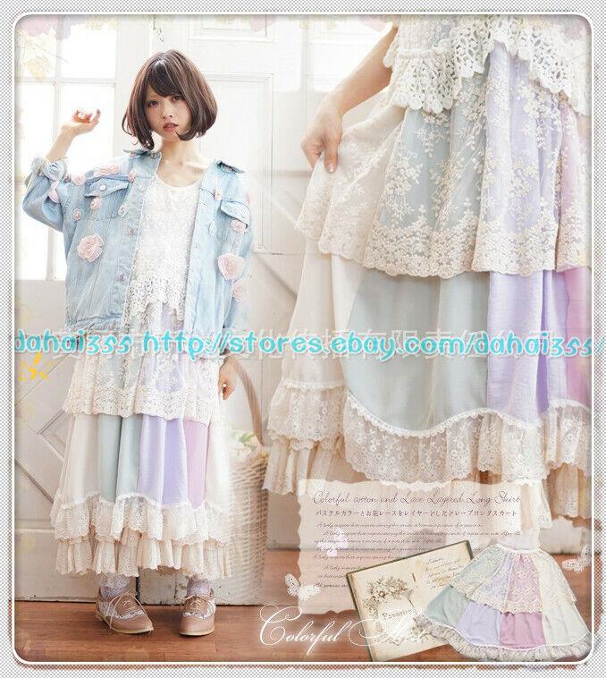 Cake Japanese Mori Girl Sweet Lolita Vintage Lace Preppy Style Bust Skirt  X1