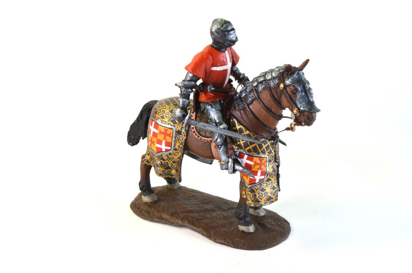 Mounted Knight Hospitaller 1 32 medieval horseman Toy soldier Handmade Painted