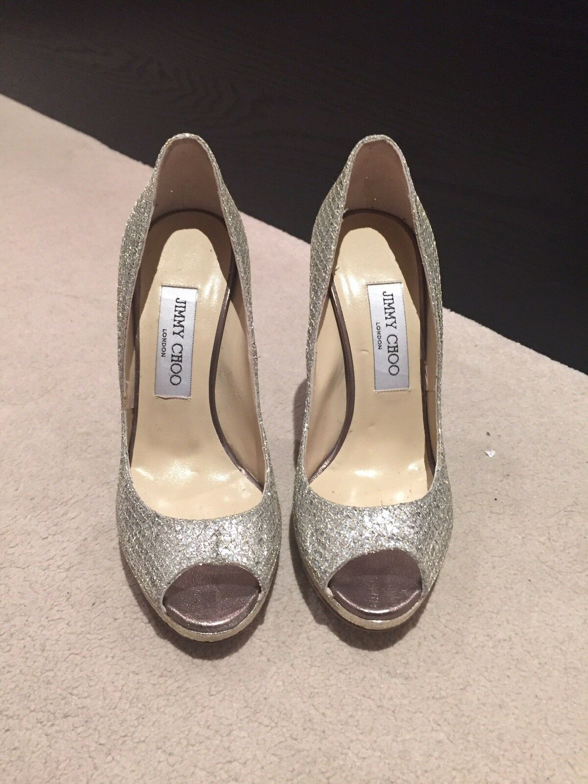 Brand new (worn once) Jimmy Choo high heel glitter gold sandal shoes size 37