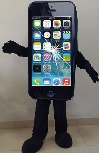 Mobile Mascot Advertising Cell Phone Costume Suits Black Adults Size Add Logo us