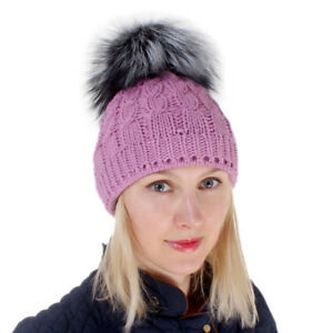 03e39bc277d Pink Wool Hat With Silver Fox Fur Pom Pom! Beanie Winter Cap Bobble ...