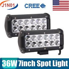 2x 7INCH 36W CREE Led Work Light Bar SPOT Driving Fog Offroad Jeep Truck A7 SUV