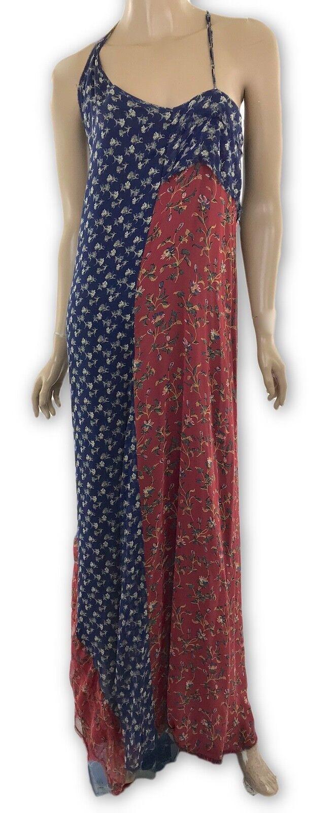 R13 nouveau Robe longue imprimé soie fluide Ourlet Asymétrique Bleu Motif floral Rouge