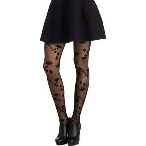 "Black SPANX `Tight-End Tights` Formende Strumpfhose /""Stunning Roses/"" Schwarz"