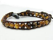 Men's Wrap Bracelet  all 6mm TIGER EYE stone  beads leather  fashion bracelet