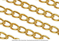 22k Gold Plated 6mm Curb Chain For Bracelets Necklaces Jewelry Sold By The Foot