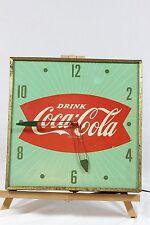 Vintage Coca Cola Square Green Fish Tail Wall Clock Pam Part or Repair