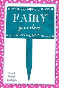 Sweet-Shabby-Chic-Small-Blue-Wooden-Garden-Sign-034-Fairy-Garden-034-Sass-amp-Belle