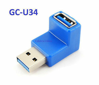 USB 3.0 Type-A Male to Female 90 Degree Right-Angle Adapter CablesOnline GC-U34