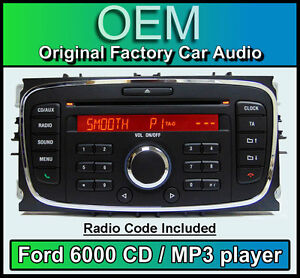 ford 6000 cd mp3 player ford mondeo car stereo headunit with radio code ebay. Black Bedroom Furniture Sets. Home Design Ideas