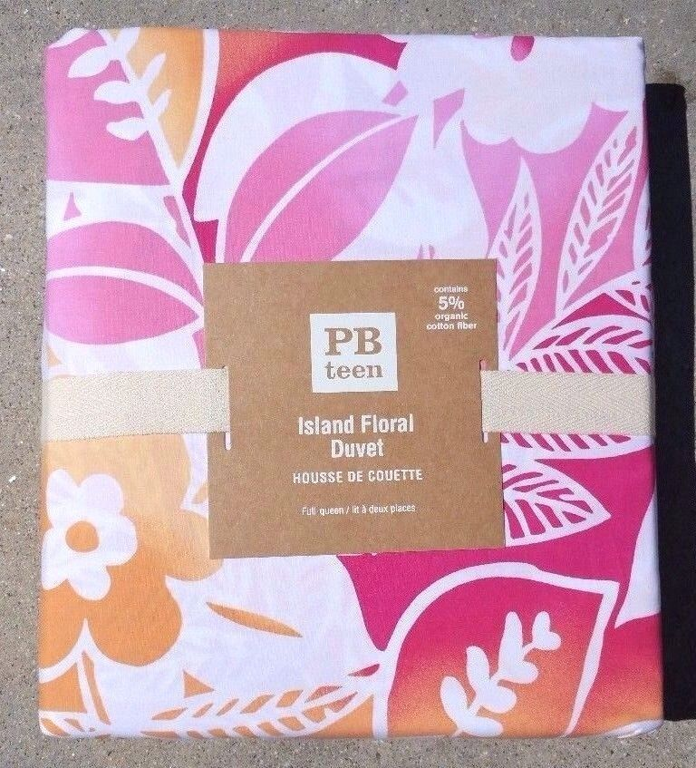 POTTERY BARN KIDS  ISLAND FLORAL DUVET IN rose & Orange  TWIN or FULL QUEEN