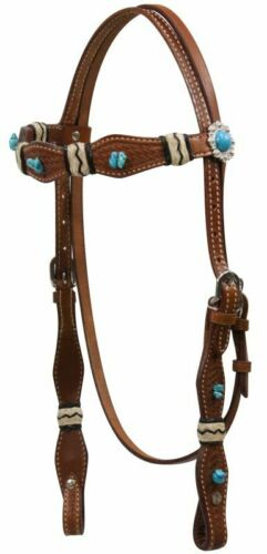 Brown Leather Western Bridle Headstall Turquoise Stones /& Rawhide Horse Sz 12826
