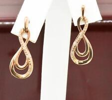 Infinity Design Genuine Diamond 14k Rose Gold/Sterling Dangle Earrings