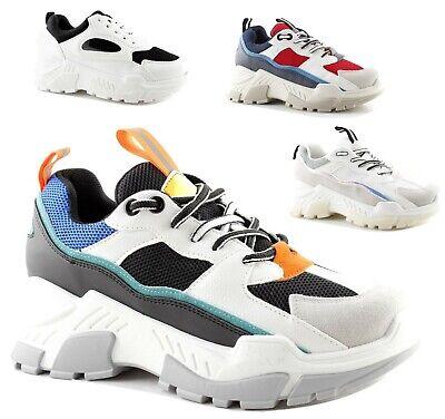 Scarpe Sneakers Suola Alta Donna Nere Bianche Multicolor Pelle Pu triple 0292-1