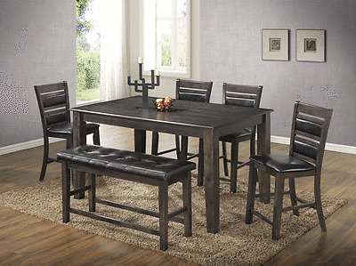 6 Pcs Light Espresso Dining Set Table Side Chair W/ Bench Dining Room  Furniture | eBay