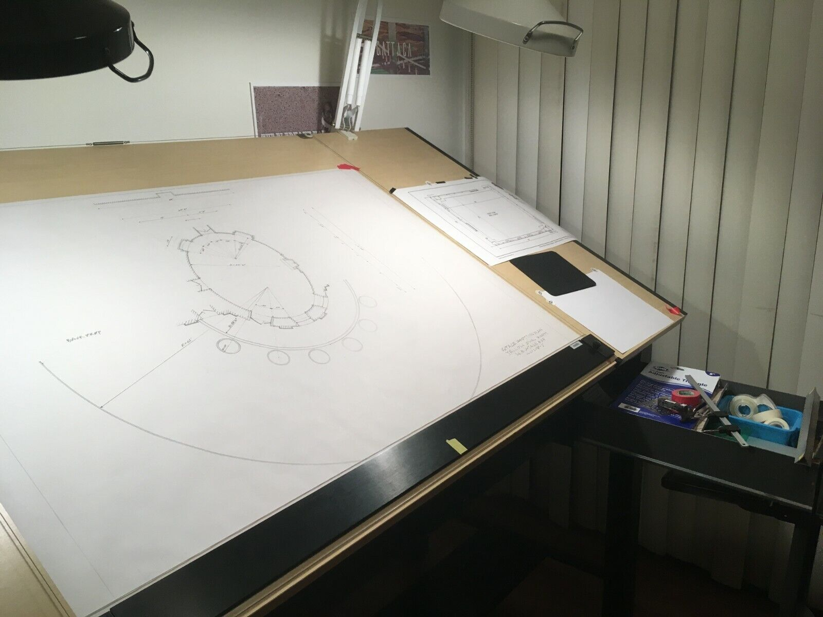 """7261A MAYLINE Hamilton 36/"""" drafting table parallel rule"""