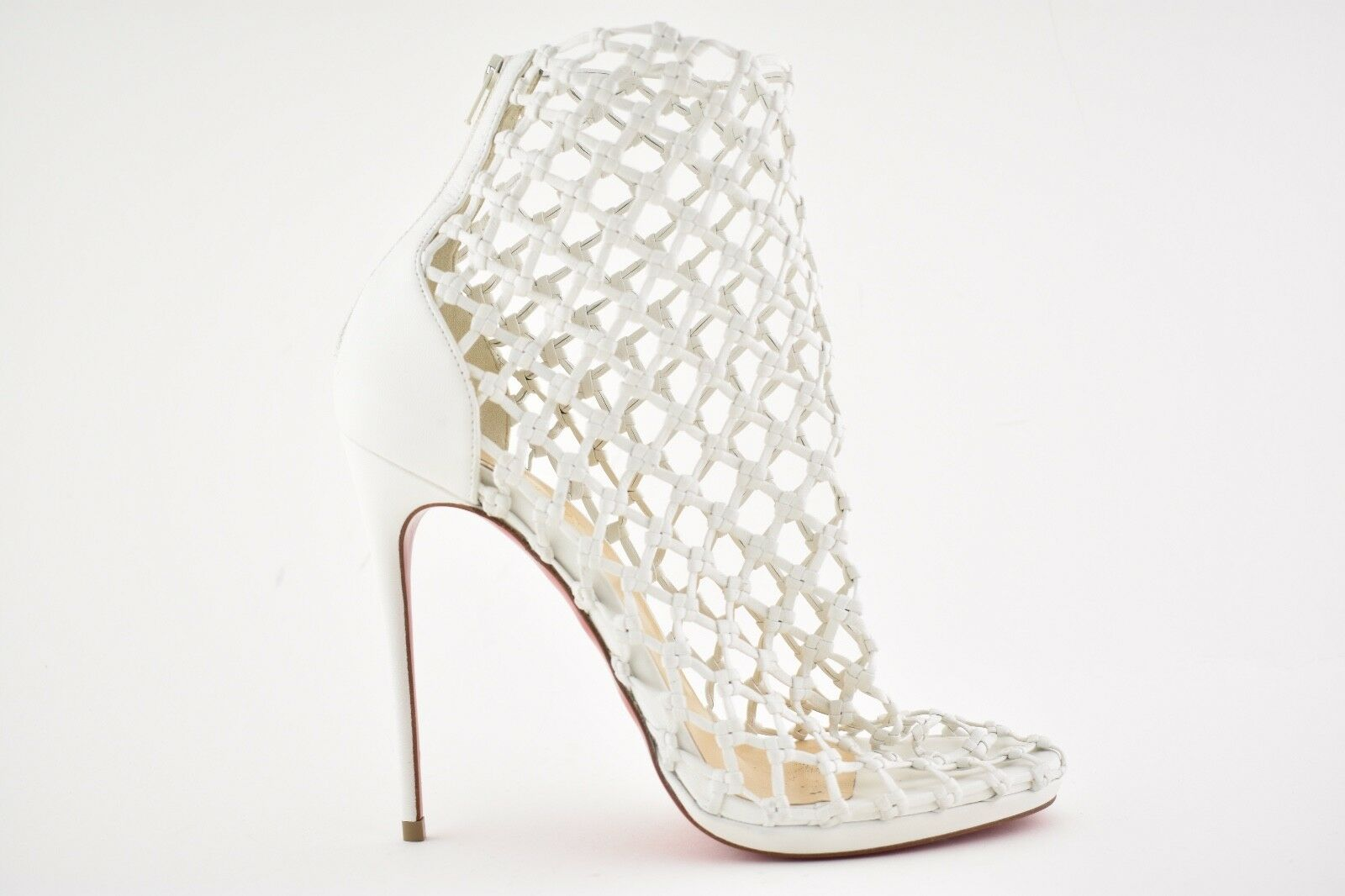 NB Christian Louboutin Porligat 120 Weiß Latte Pump Caged Boot Bootie Heel Pump Latte 36.5 66472f