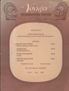 Vintage THE VOYAGER Thanksgiving Dinner Menu 1966