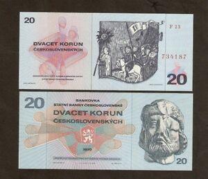 CZECHOSLOVAKIA 20 KORUN P92 1970 LION SOLDIER HORSE UNC MONEY BILL BANK NOTE