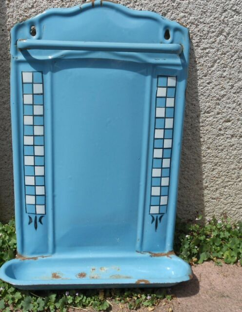 Antique French ENAMELWARE UTENSIL RACK  HOLDER  aqua BLUE