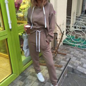 Eg-Donna-Tuta-Felpe-con-Cappuccio-Coulisse-Pantaloni-Set-Abbigliamento