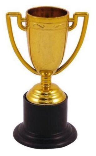 6x MINI GOLD COLOURED PLASTIC TROPHY FUN GAMES NOVELTY UK SELLER