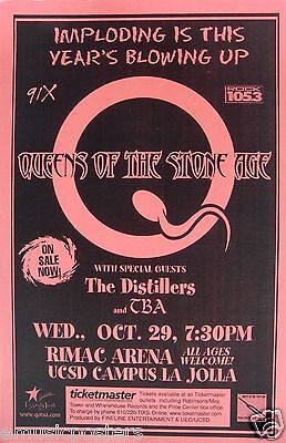 QUEENS OF THE STONE AGE / THE DISTILLERS 2003 SAN DIEGO CONCERT TOUR POSTER