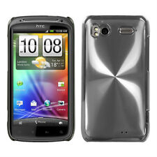 HTC Sensation 4G - BLACK BRUSHED METAL ALUMINUM ACRYLIC HARD CASE COVER SILVER