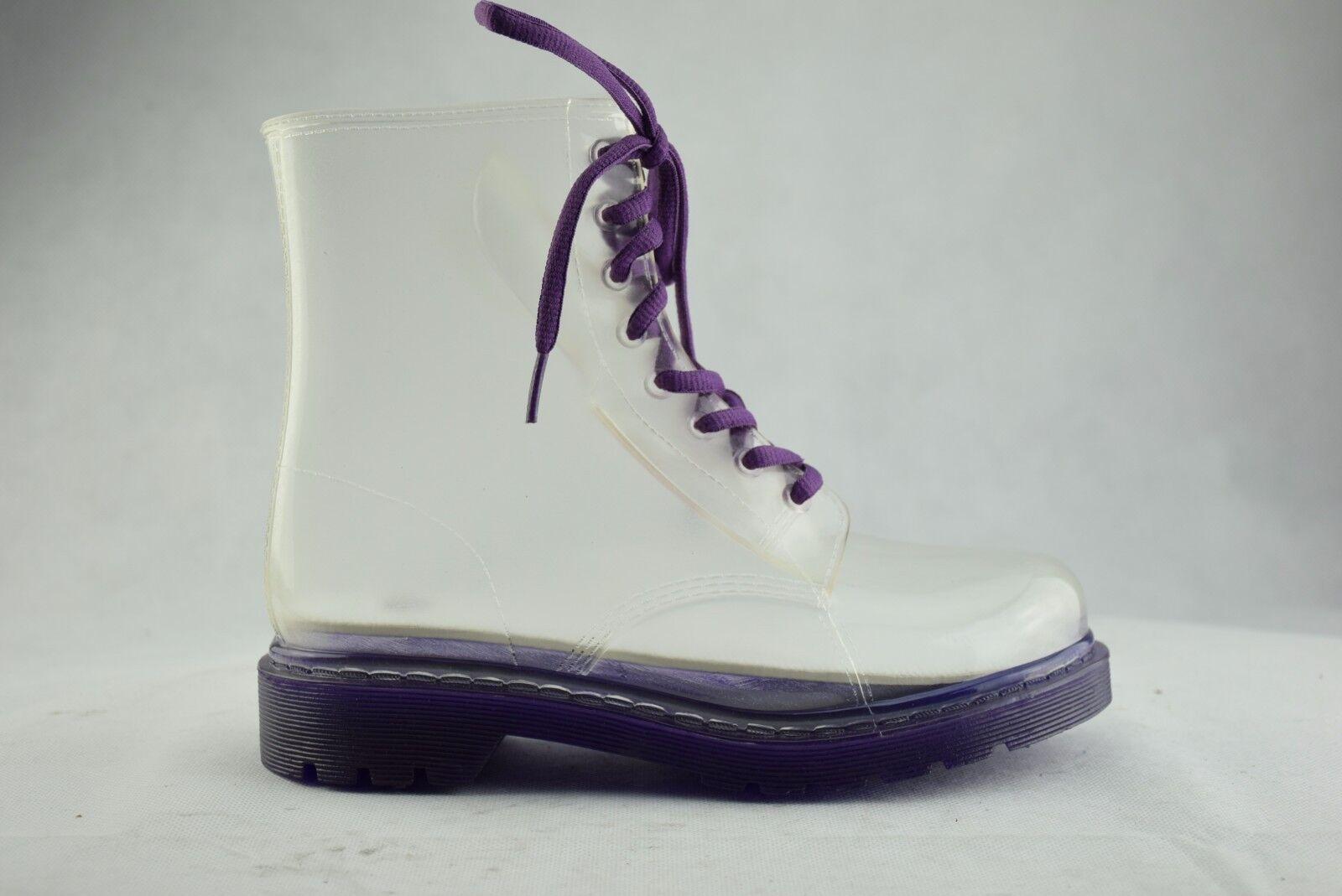 Transparent Purple Short Wellingtons Ladies Rain Boots Wellies Combat Laces