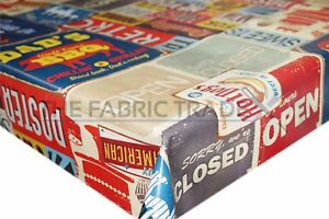 Retro-American-Diner-Multi-PVC-Tablecloth-Vinyl-Oilcloth-Kitchen-Dining-Table